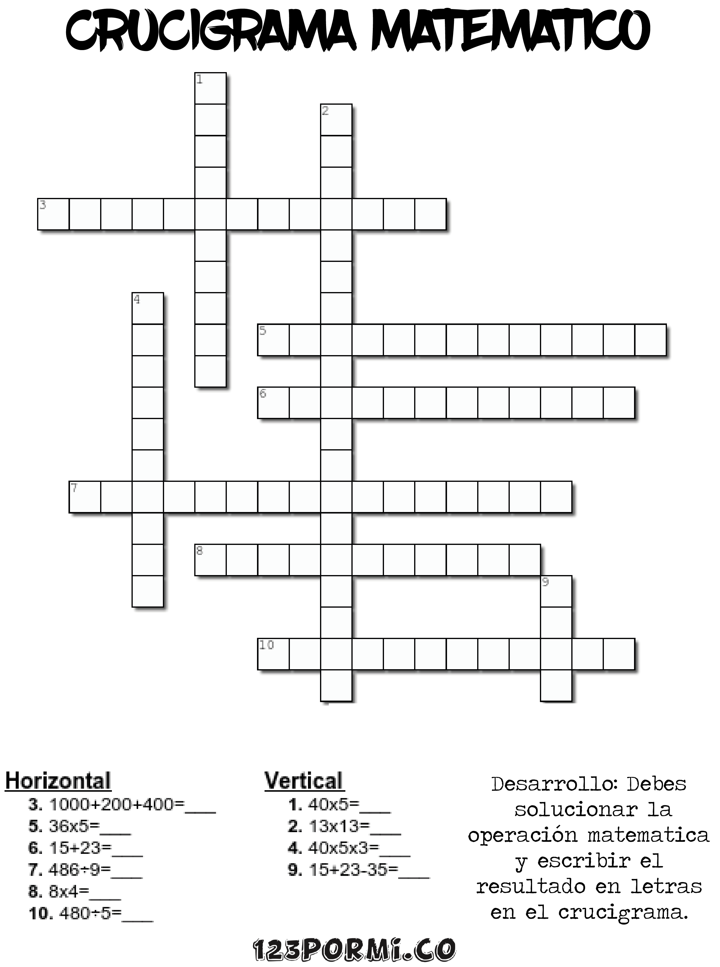 crucigrama mateamtico 1